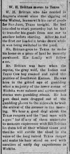 William Henry Brittan, Texas Move