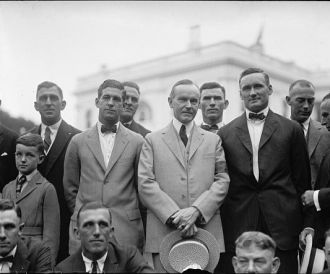 Coolidge with Washington baseball team