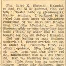 Kristian Skolmen obituary