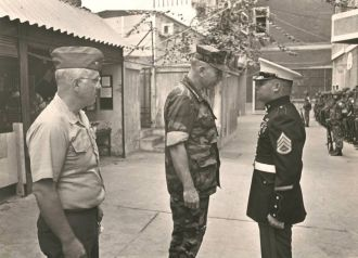 Wayne A. Ekblad with the Commandant of the Marine Corps (1983)
