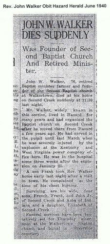 Rev. John Walker 1867-1940 obit