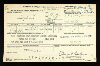 John Lloyd Silver interment record