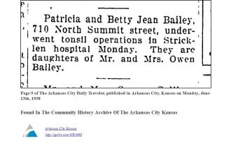 Patricia & Betty Bailey, Stricklen Hospital