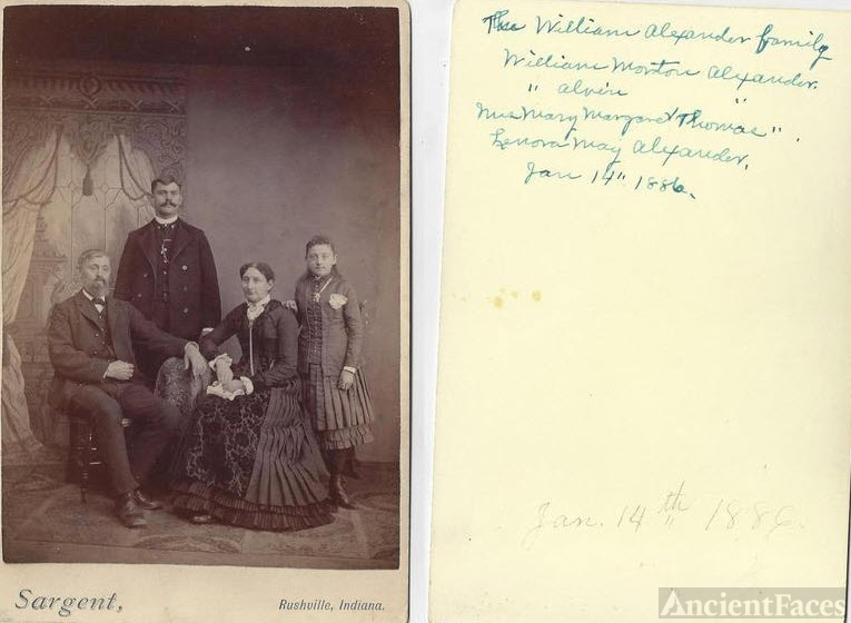 William Alexander Family Rushville Indiana 1886