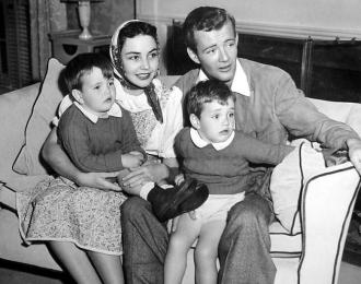 Jennifer Jones and Robert Walker Sr. with Robert Jr. and Michael.