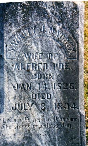 Grave Marker of Sivility Jane Maddux Poe