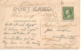 Post card to John Coughlin