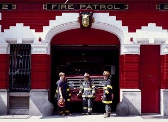 Fire station and firemen in New York, New York