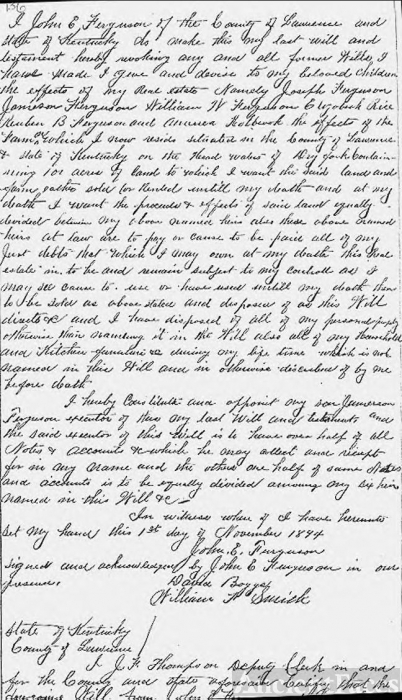 Will of John Everald Ferguson