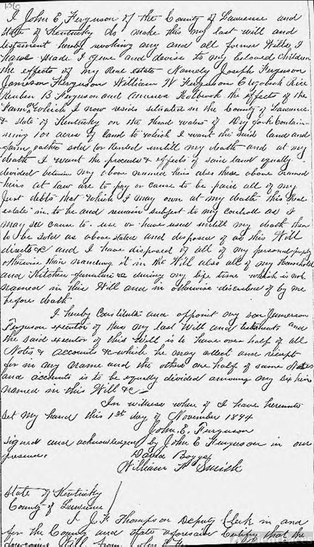 Will of John Everald Ferguson