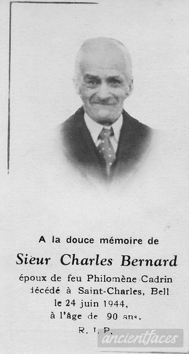 Charles Bernard Funeral Card