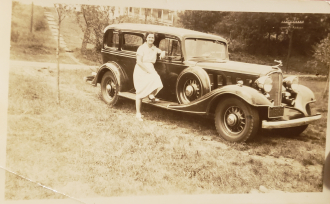 Mae Florence  (Taft) Consentino Next to there Car