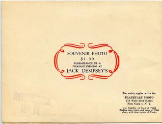 Back cover of souvenir photo