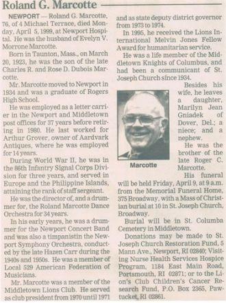 Roland G. Marcotte Obituary, RI