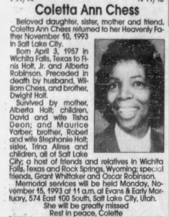 Coletta Ann Chess Obituary