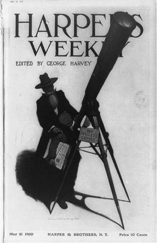 [Using a street telescope, a newsboy glimpses Halley's...