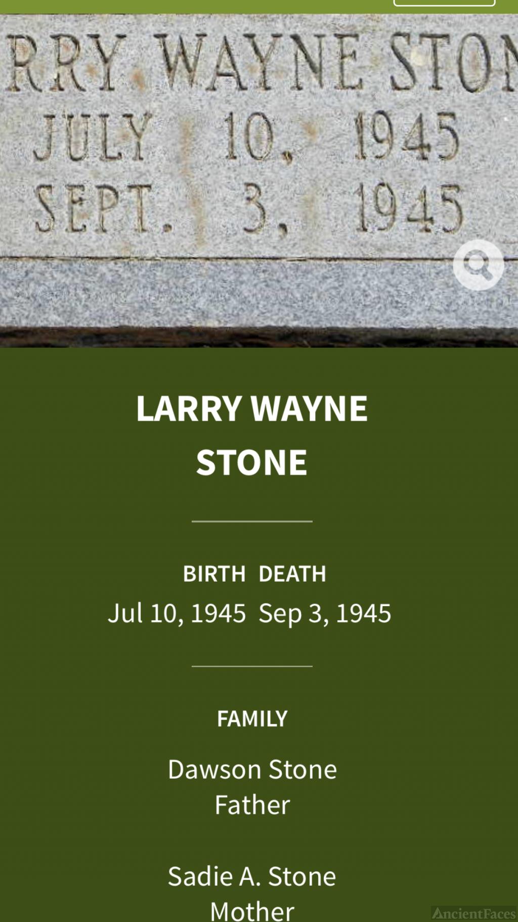 Larry Wayne Stone Gravesite