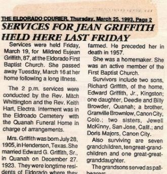 Obituary for Jean Griffith, Native of Eldorado, OK