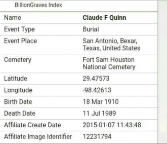 Claude (Claudie) Freeman Quinn