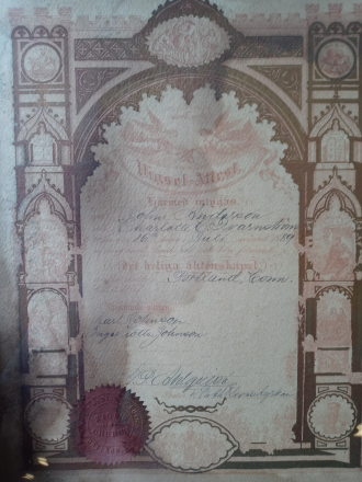 Marriage Certificate 1889 John & Charlotte Anderson