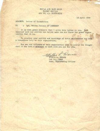 Weldon G. Johnson letter of commendation