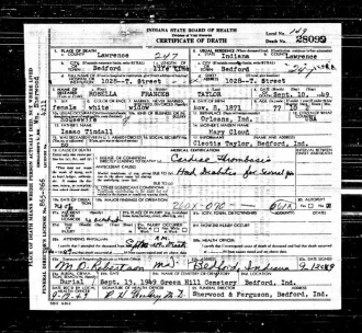 Rosella Frances Tindall Taylor's  Death Certificate