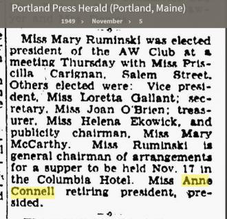 Anne Louise Connell-Coughlan--Portland Press Herald (Portland, Maine)(5 nov 1949)