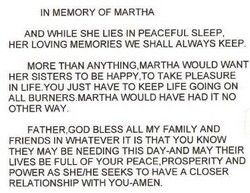 A Writing by Martha's Sister