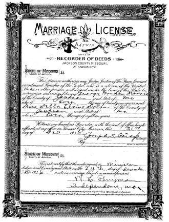 Morris - Dolan Marriage License