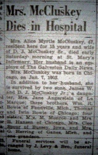Alice Myrtle Bowie McCluskey Obituary
