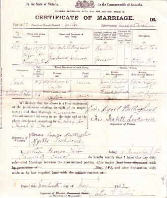 Eric Cyril Billinghurst marriage certificate